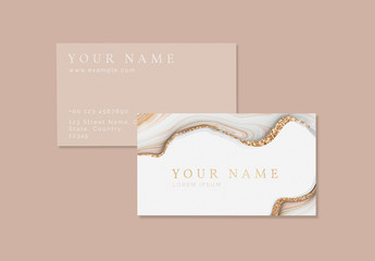 Business Card Layout with Gold Accents and Stone Imagery