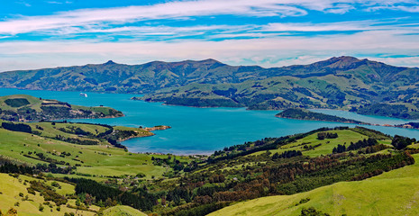Overlook of the scenic Akaroa Harbor in the Banks Peninsula, Canterbury, South Island, New Zealand