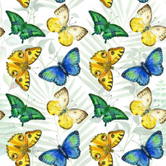 Floral leaves seamless pattern with colorful butterflies on white background