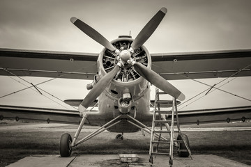 historical aircraft gets service on a meadow