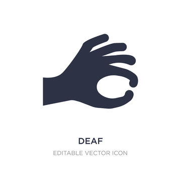 deaf icon on white background. Simple element illustration from Guestures concept.