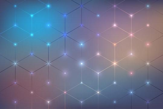 Hexagon neon abstract background