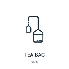 tea bag icon vector from cafe collection. Thin line tea bag outline icon vector illustration. Linear symbol.
