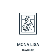mona lisa icon vector from travelling collection. Thin line mona lisa outline icon vector illustration. Linear symbol.