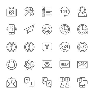 Set of Help and Support Line Icons. Call Center, Chat Message, Contact and more.
