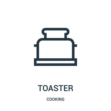 toaster icon vector from cooking collection. Thin line toaster outline icon vector illustration. Linear symbol.