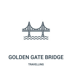 golden gate bridge icon vector from travelling collection. Thin line golden gate bridge outline icon vector illustration. Linear symbol.