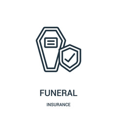 funeral icon vector from insurance collection. Thin line funeral outline icon vector illustration. Linear symbol.