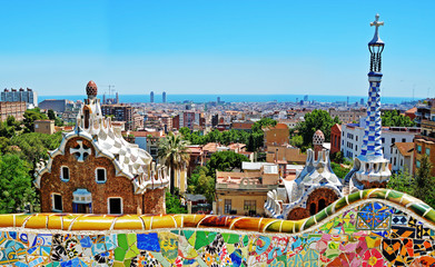 Photo sur Toile Barcelone Park Guell by Antonio Gaudi, Barcelona, Spain