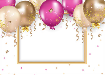 Banner with golden, pink, crimson balloons, serpentine, confetti. Golden frame and space for text on the white background.  Celebrations card for events, party, holidays, birthday.Vector background.