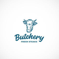 Fresh Steak Butchery Abstract Vector Sign, Symbol or Logo Template. Hand Drawn Engraving Style Cow Face or Head with Retro Typography. Vintage Emblem.