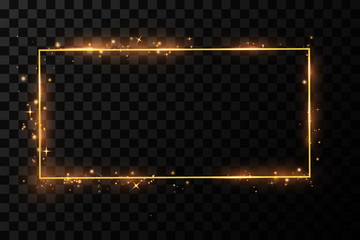 Vector golden frame with lights effects. Shining rectangle banner. Isolated on black transparent background. Vector illustration, eps 10