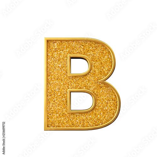 Gold glitter letter B  Shiny sparkling golden capital letter  3D