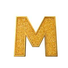 Gold glitter letter M. Shiny sparkling golden capital letter. 3D rendering