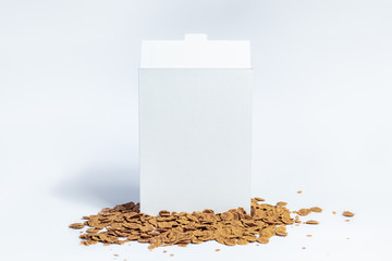 White generic cereal box, studio shot. Blank carton instant breakfast package on white background, front view