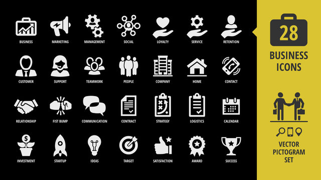 Vector business isolated silhouette icon set on a black background with customer, support, teamwork, people, company, home, contact, handshake, fist bump and more pictogram.