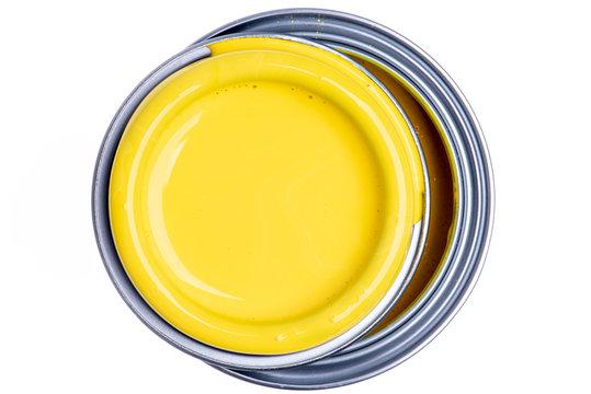Can of Yellow Paint Top View Isolated on White Background