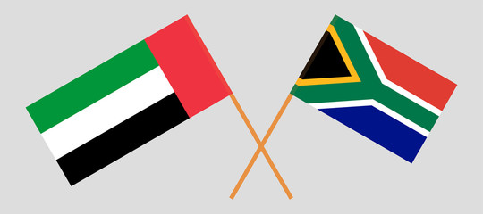 RSA and United Arab Emirates. The South African and UAE flags. Official colors. Correct proportion. Vector