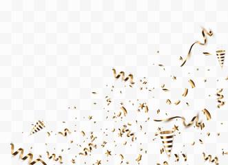 Golden confetti isolated