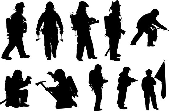 Fire Fighter Silhouette Shape Vector