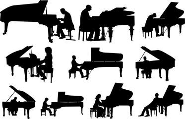 Pianist Silhouette Shape Vector