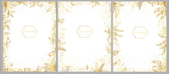 Set of vector greeting cards with golden plants and twigs on a light background