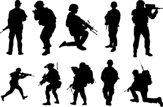 Soldier Silhouette Shape Vector