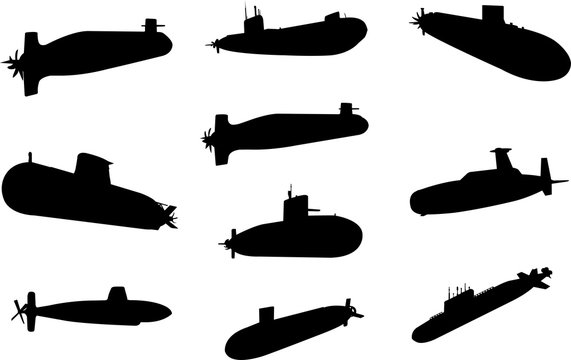 Submarine Silhouette Shape Vector