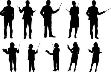 Teachers Silhouette Shape Vector