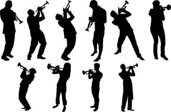 Trumpet Player Silhouette Shape Vector