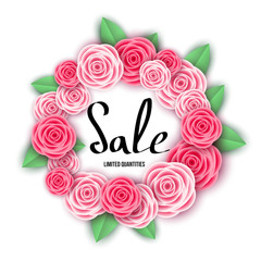Spring  season  sale banner with  flowers.