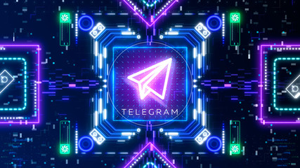 Telegram Open Network symbol. Financial and business sign on digital background