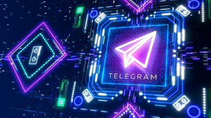 Telegram sign 3d illustration. Digital paper plane glow neon symbol