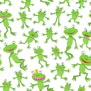 Seamless pattern from cute cartoon smiling frogs and hoptoads on white background. Flat style children's wallpaper, green textile print for kids, wrapping paper with happy animals