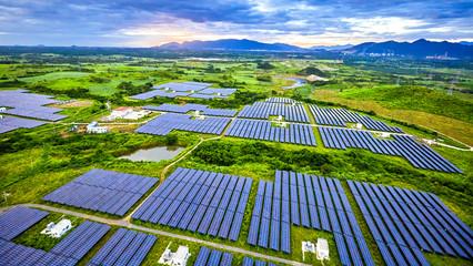Aerial solar photovoltaic panel under aerial illumination
