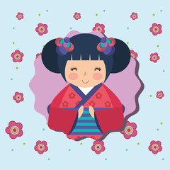 cute traditional japanese kokeshi doll in kimono flowers background
