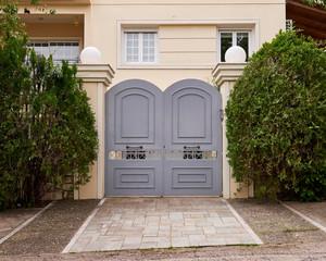 elegant house entrance metallic door, Athens Greece