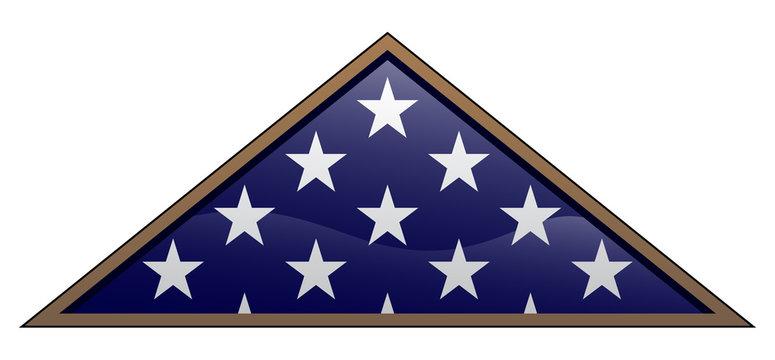 Military Veteran Style Folded American Flag Vector Illustration