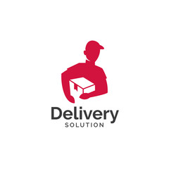 Delivery solution logo design. Delivery service, Delivery express logo design. Delivery man courier holding box, Logo design vector template Negative space style - Vector