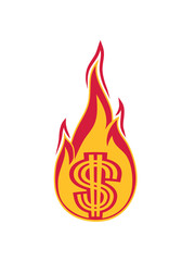 geld verbrennen ausgeben heiß feuer flamme fackel dollar symbol zeichen reich millionär reichtum sparen währung verdienen profit logo design gangster rapper