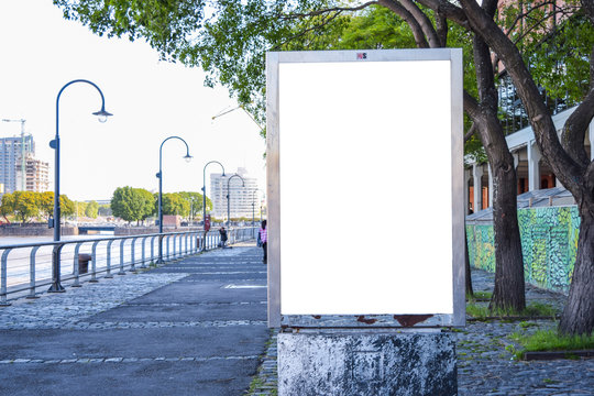 Mockup of white billboard on the coast of the river