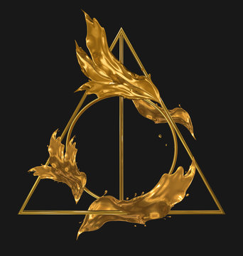 Deathly hallows golden sign with splashes of gold. Isolated on black. 3d render