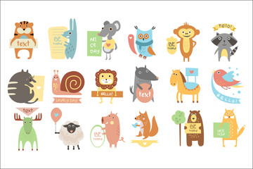 Colorful set of different animals with stickers, plates and ribbons with place for your text. Isolated flat vector design for children book