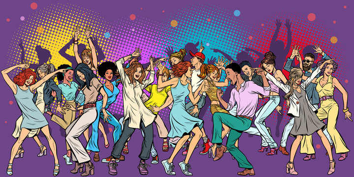 Party at the club, dancing young people