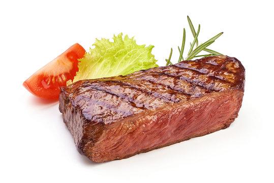 Roasted juicy medium rare beef steak, fried meat, close-up, isolated on white background