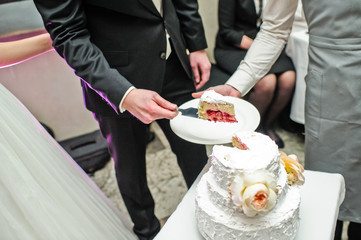 The bride and groom cut the traditional wedding cake
