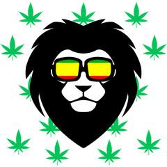 Lion rastaman vector - hemp background - cannabis - Vector