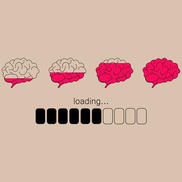 Brain loading icon. Pink marrow. Progress load bar. Vector