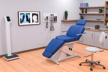 doctor office or examination room in a hospital  blue chair x ray view. Medical healthcare background.