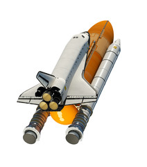 Fototapete - American Space Shuttle Isolated On White Background